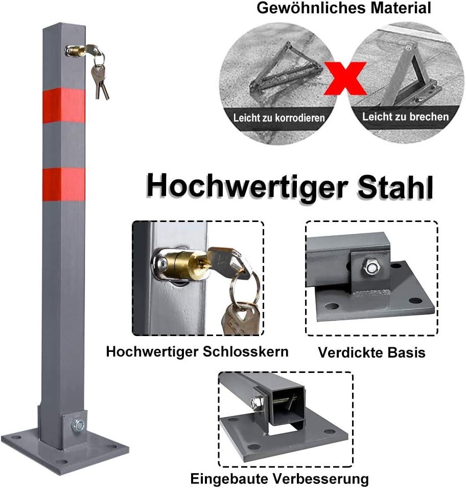 Sperrpfosten aus Stahl 2 St/ück Parkplatzsperre Klappbar Parkpfosten mit 3 Schl/üssel Robust Universell Quadratisch Absperrpfosten mit Warnstreifen