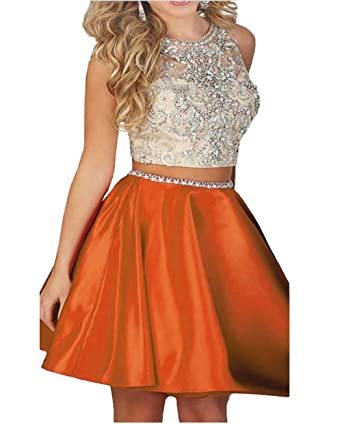 Ivy Two Piece Lace Bodice Short Homecoming Dresses Beads Prom Dresses