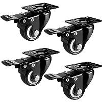 Caster wiel met remmen, LXY- Heavy Duty 360 graden draaibare zwenkwielen met veiligheidsslot &, stille caster plat wiel…