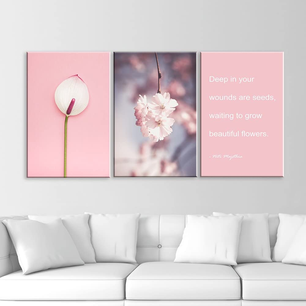 Elegant Visual, Made With Top Quality, 3 Panel Pink Flowers and Inspirational Quotes x 3 Panels