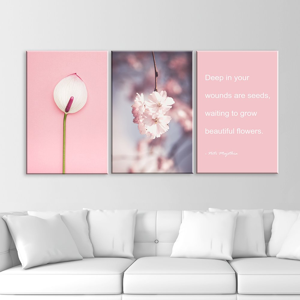 3 panel pink flowers and inspirational quotes x 3 panels canvas 3 panel pink flowers and inspirational quotes x 3 panels mightylinksfo