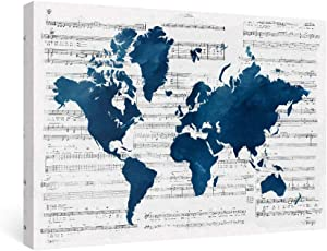 SUMGAR Framed Wall Art Office World Map Canvas Paintings Navy Blue Pictures Nautical Music Artwork Prints,24x16 inch