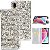 Misteem Case for Huawei P20 Lite Sparkle Glitter Rhinestone Diamond Colourful Cover Magnet Bookstyle Flip Case PU Leather Shockproof Wallet Stand Shining Bling Card Holder Slot Protective Shell [Slim-Fit] [Anti-Scratch] [Shock Absorption] for Huawei P20 Lite (Silver)
