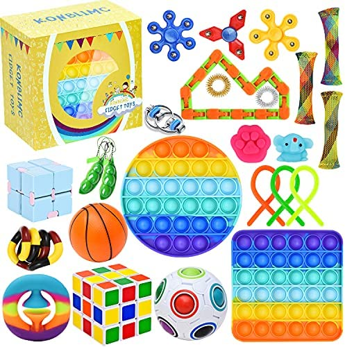 25 Pack Sensory Toys Set, Relieves Stress and Anxiety Fidget Toy for Children Adults, Special Toys Assortment for Birthday Party Favors, Classroom Rewards Prizes, Carnival, Piñata Goodie Bag Fillers