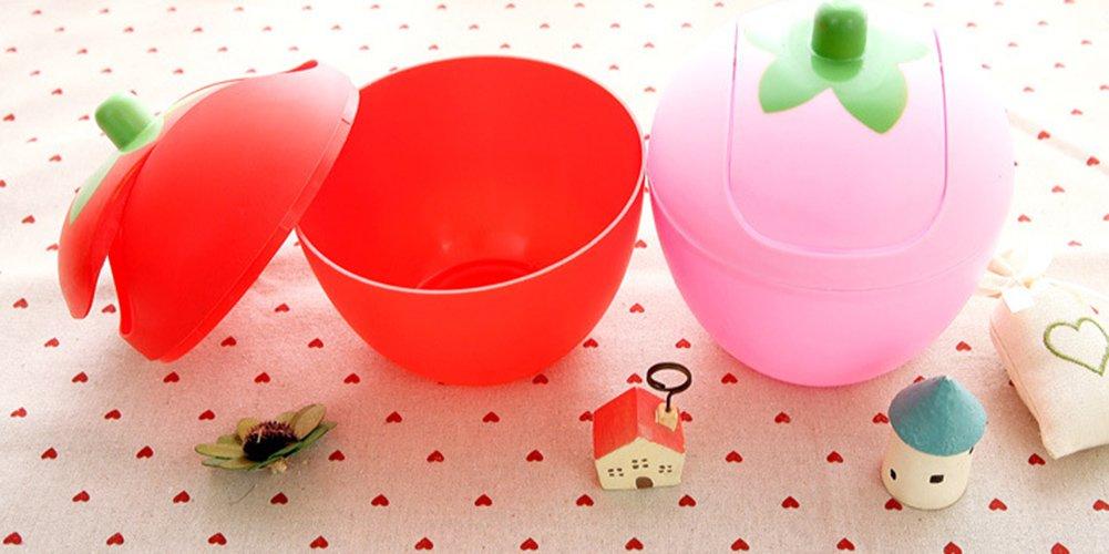 Red JUNGEN Mini pattumiera Paper bidoni per scrivania Tidy Lovely a Forma di Frutta con Coperchio 7.6 * 20/cm plastica 7.6 * 20CM