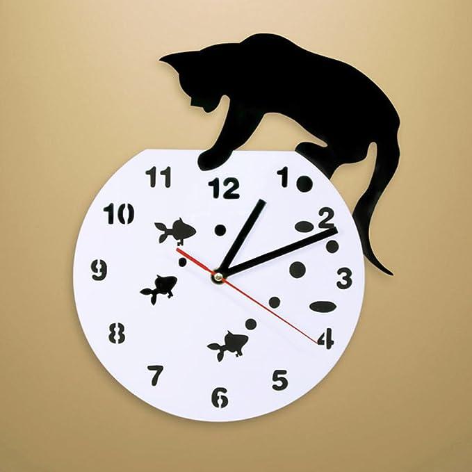 Reloj de pared con diseño de gato en un pecero, adorable reloj de pared para gatos y peces, decoración para el hogar, cazador, gato, diseño moderno, ...