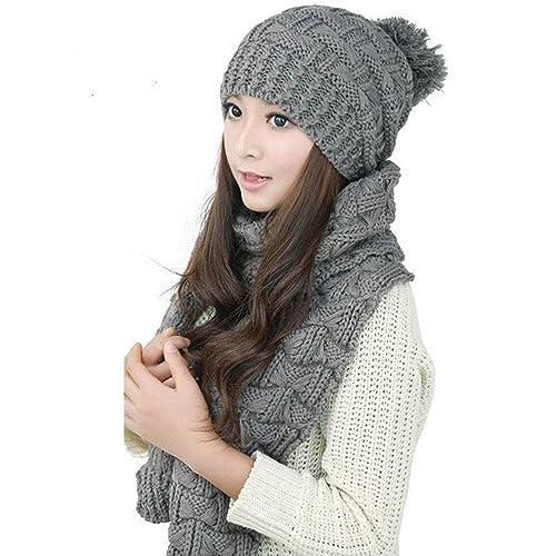 zolimx Sombrero de mujer, Lana de punto campana bufanda + invierno caliente sombrero