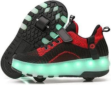 SSCYHT Zapatos con Ruedas Zapatillas para niños y niña Led Luces Zapatillas con Ruedas Se Puede Bambas con Ruedas Automática Calzado de Skateboarding,Negro,30: Amazon.es: Deportes y aire libre