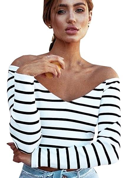 Rayas Crop Top Mujer Verano Cortas Negro Blanco Camisetas Casual Fiesta Manga Larga Blusas Señora Elegantes Cropped Tank Tops Chaleco Camisas Bonitas Moda ...