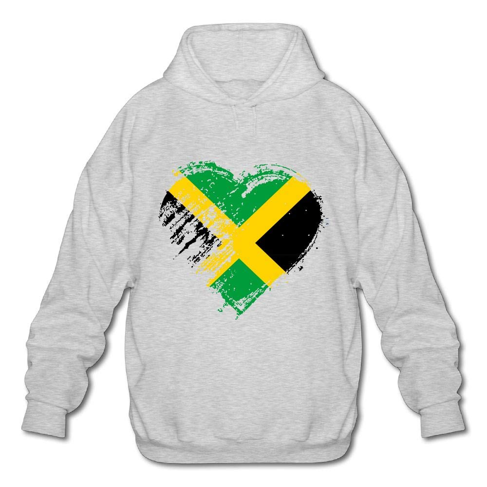 Grungy I Love Jamaican Heart Flag Mens Funny Hooded Sweatshirt Hoodie
