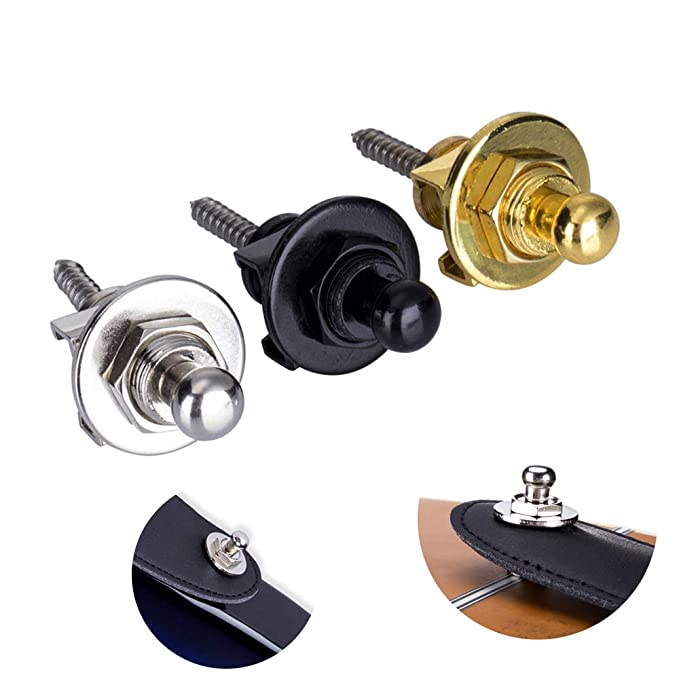 Silver Black/&Gold Guitar Bass Non-slip Security Straplocks Buttons with Easy Remove Screw 3 Pcs Guitar Strap Locks Set