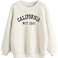 SweatyRocks Women's Long Sleeve Fluffy Fleece Sherpa Graphic Pullover Sweatshirt Top