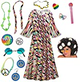 Dreamscape Hippie Dress Plus Size Halloween Costume Curly Wig Kit 4x