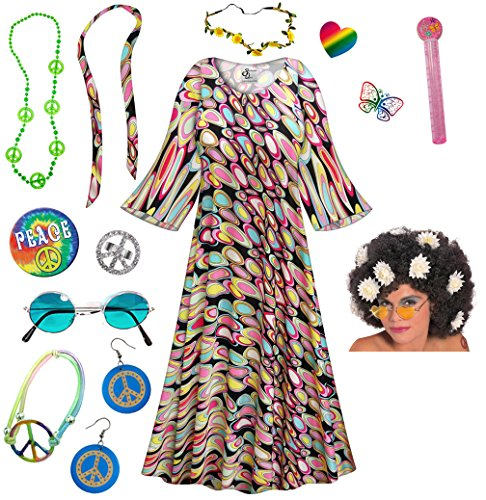 Dreamscape Hippie Dress Plus Size Halloween Costume Curly Wig Kit -