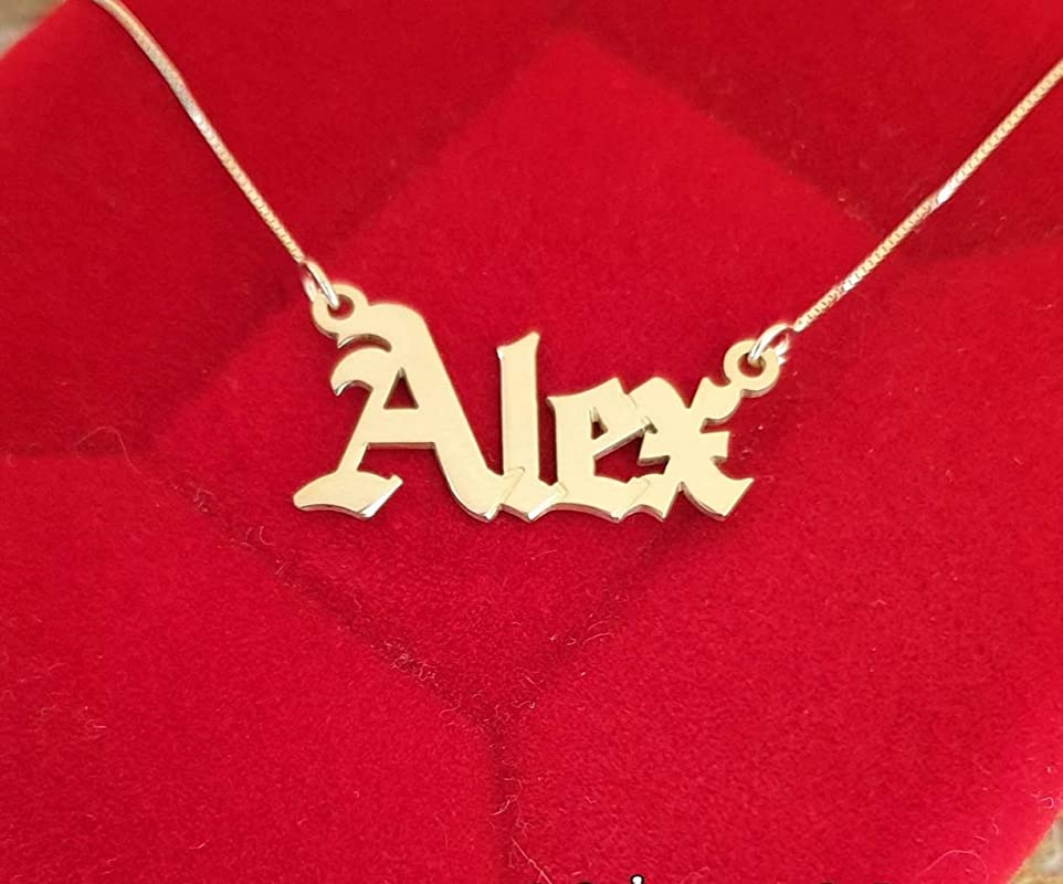 Gothic Style Big Hip Hop Men/'s Name Necklace Hand Made Gifts For Him Personalized Gifts For Dad Large Nameplate
