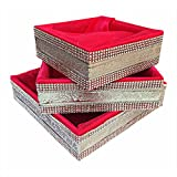 Linencurves Pink Valvet And Satin Fabric Royal Basket Potli ,(Size :- Inches 8*8*3,10*10*3,12*12*3)