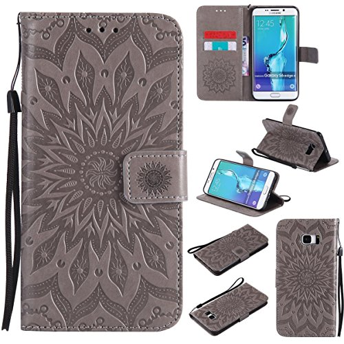 Galaxy S6 Edge Plus Case,Pu Leather Embossed Wallet Cover Flip Kickstand Carrying Case with Wrist Strap Full Protective Case Xmas Birthday Gift for Samsung Galaxy S6 Edge Plus -Sunflower Gray