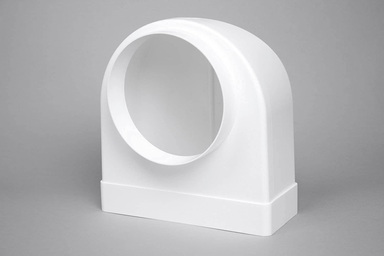 naplesuk 220/mm x 90/mm MegaDuct plano canal conducto codo de 90/º para 150/mm redondo/ /de pl/ástico blanco
