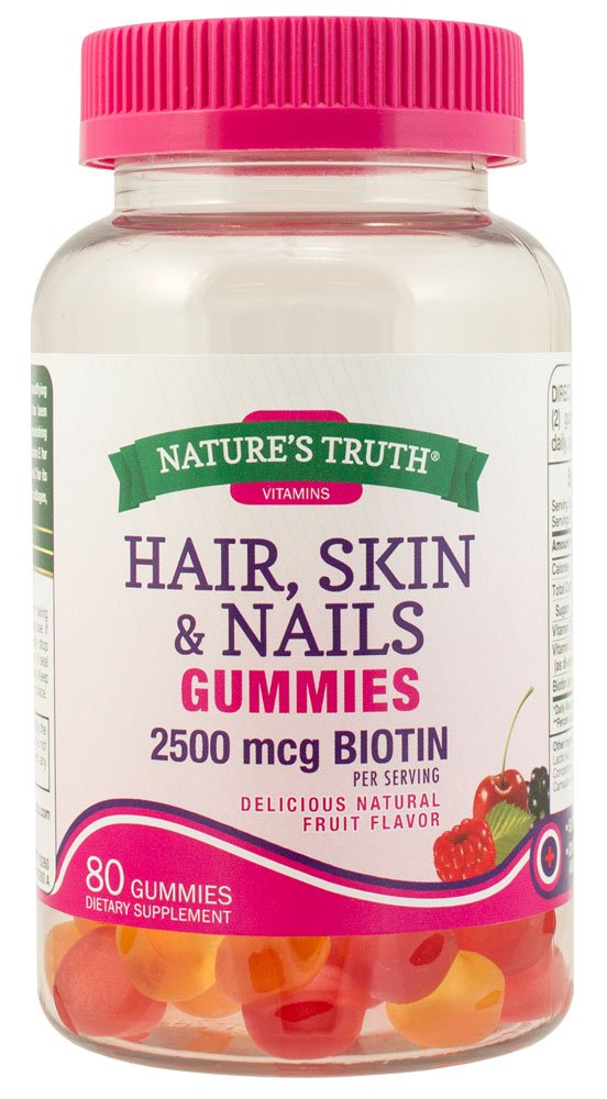 Amazon.com: Natures Truth Hair, Skin, Nails Natural Fruit Flavored Gummies, 80 Count: Health & Personal Care