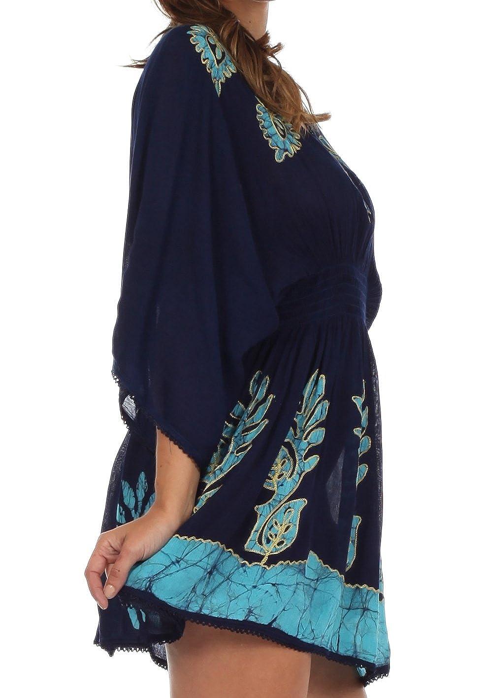 Sakkas 982 Bordado batik Gauzy algodón túnica de la blusa - Azul/Turquesa - Un tamaño: Amazon.es: Ropa y accesorios