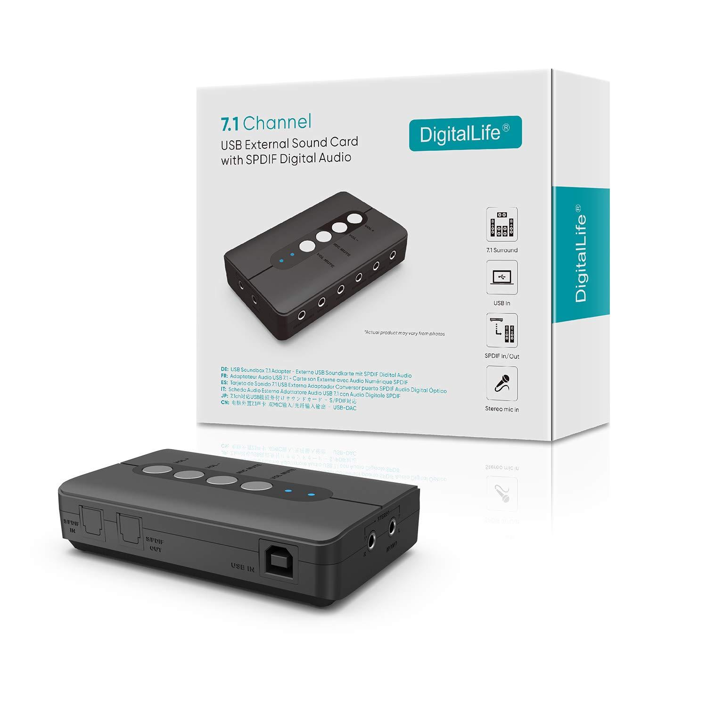 USB Tarjeta de Sonido Externa de 7.1 Canales - DigitalLfie PC USB Estéreo Tarjeta de Sonido con SPDIF/2 Microfono Input - 2.1/5.1/7.1 Tarjeta Sonido