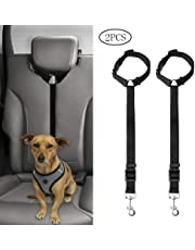Jinkesi 2Pcs Dog Seat Belt, Adjustable Dog Safety Harness Dog Safety Leash Leads for Travel Daily Use (Black)
