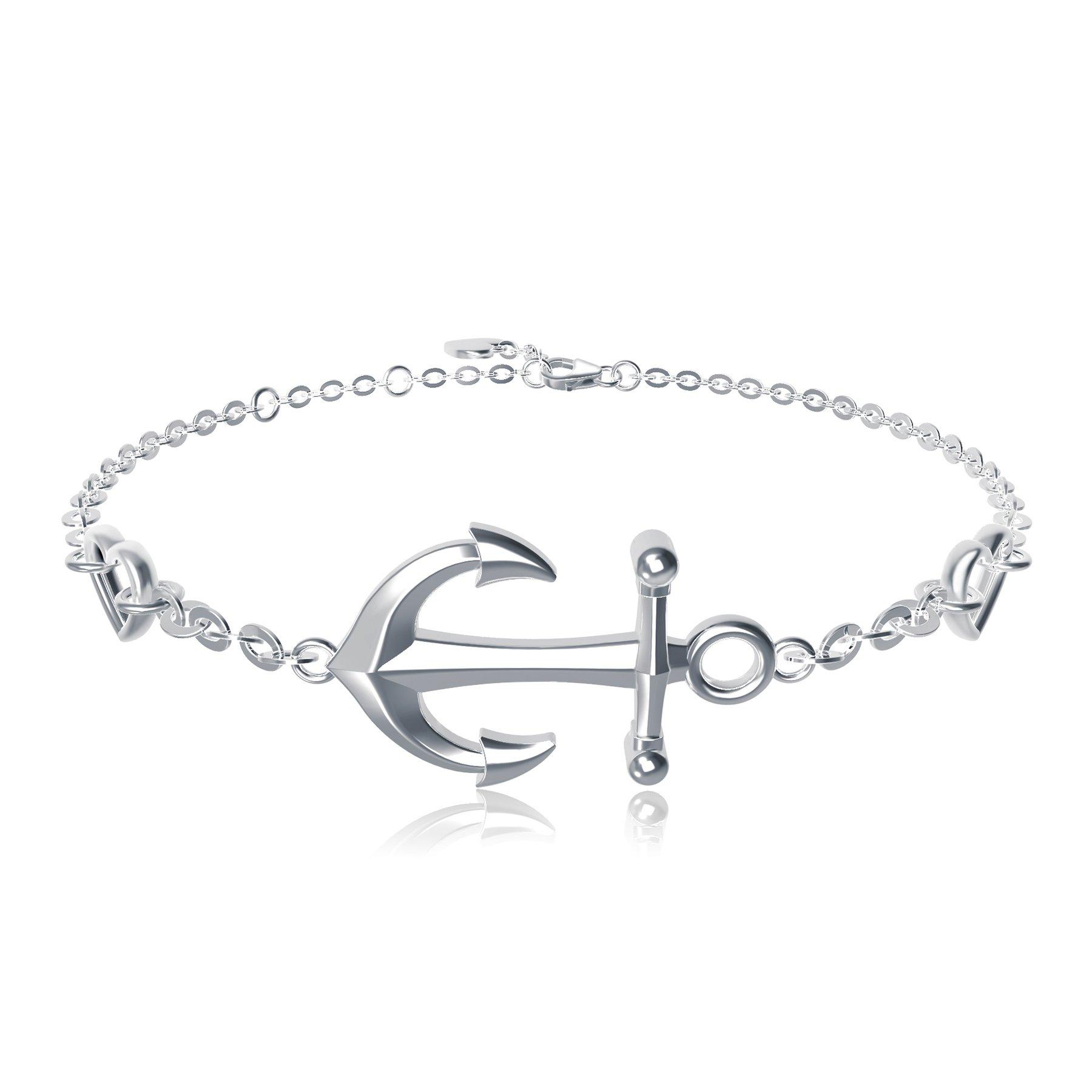 925 Sterling Silver Anchor Bracelet - Billie Bijoux White Gold Plated Diamond Charm Adjustable Bracelet