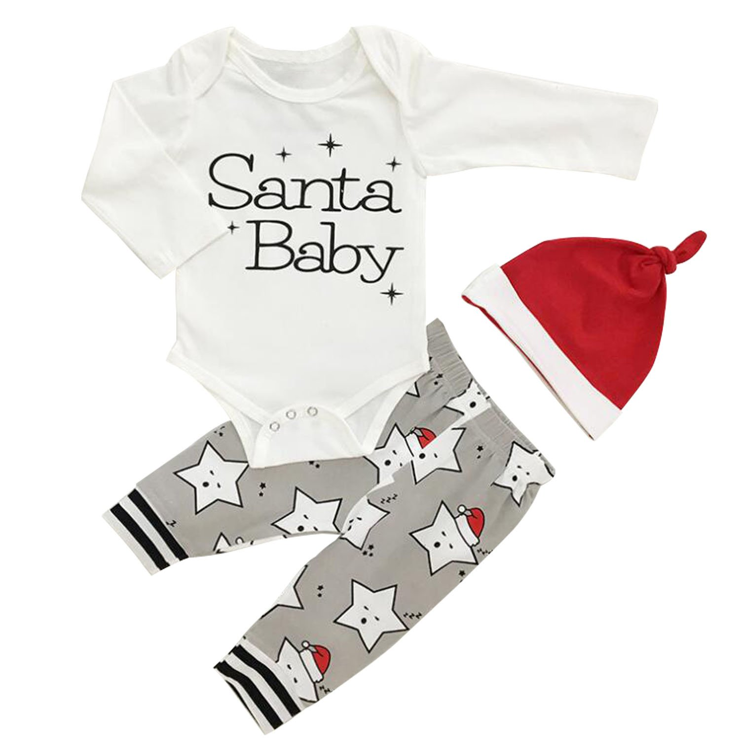 8a9fb41ca Amazon.com: Infant Baby Christmas Santa Baby Letter Printed Bodysuit and  Cute Stars Pattern Pants Set With Hat: Clothing