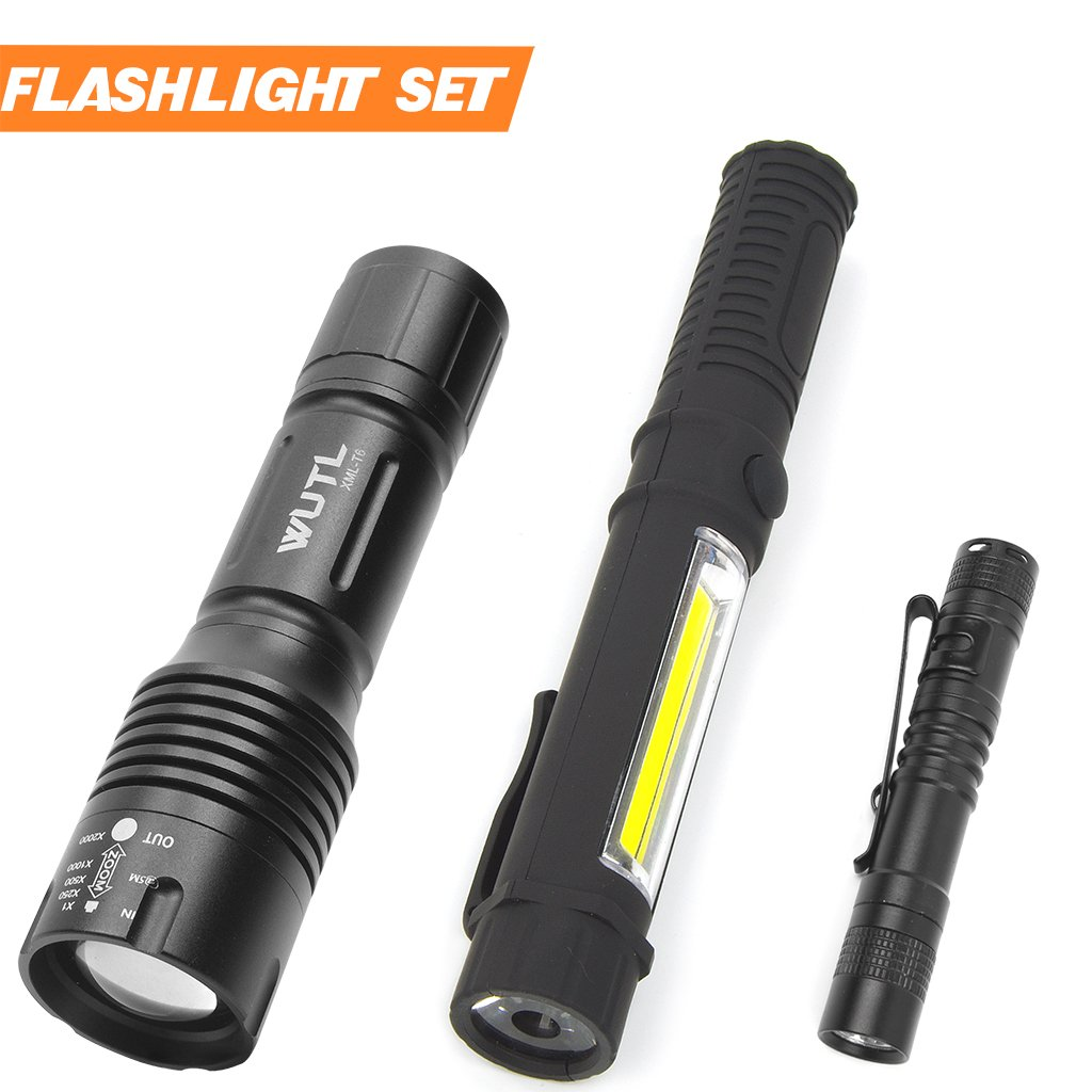 Tactical Led Flashlight Pocket Mini Torch Small COB Work Light Multi Function Flashlight Combo Pack Ultra Compact Size by WUTL (Image #1)