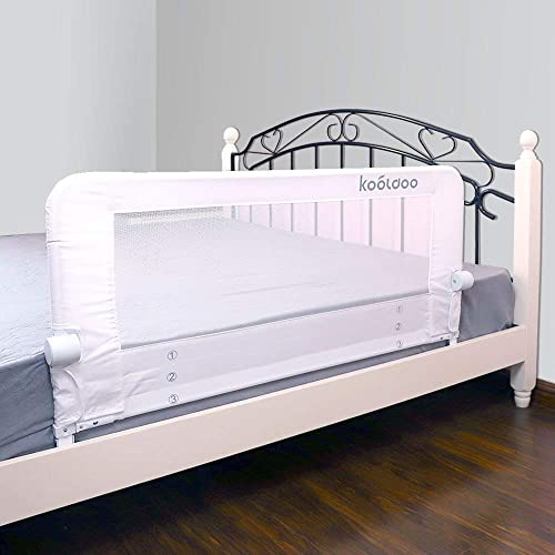KOOLDOO 43 Inches Fold Down Toddlers Safety Bed Rail Children Bed Guard with NBR Foam Include 1pcs Seat Belt (White)