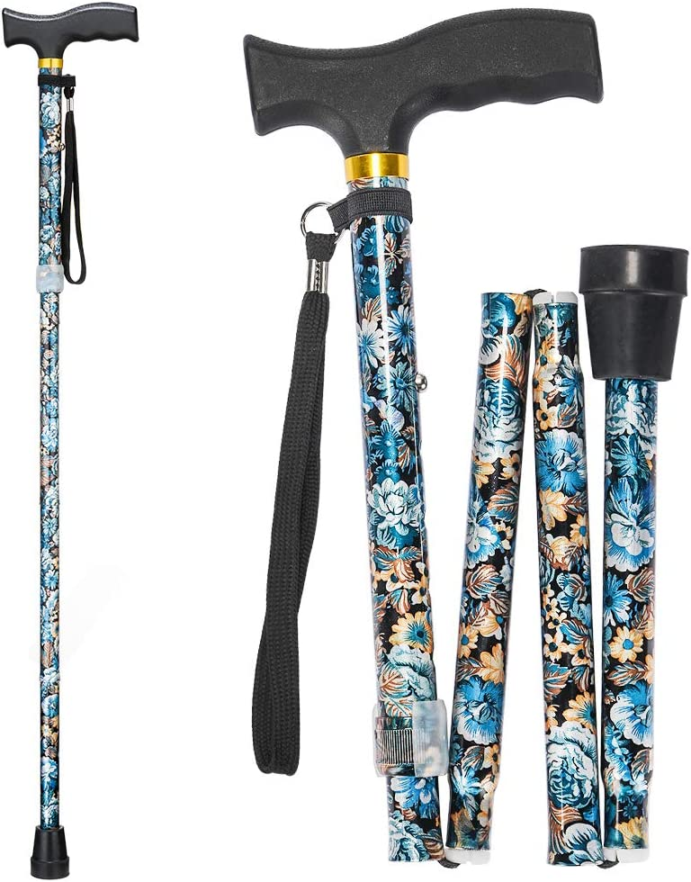 Folding Walking Cane, LIXIANG, 5-Level Height Adjustable Walking Stick for Men & Women with Comfortable Plastic T-Handle Portable Walking Stick, Blue Floral Printing
