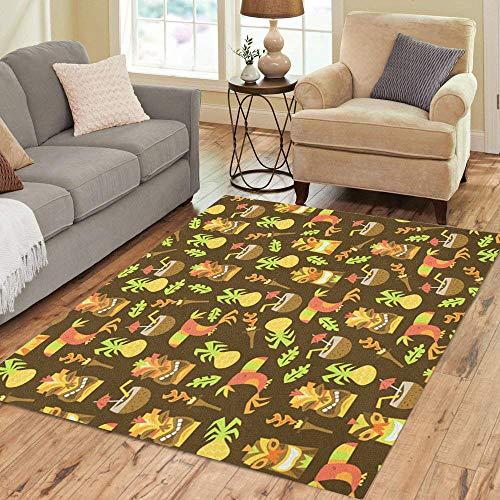 (Semtomn Area Rug 5' X 7' Pattern of Tiki Luau Pineapple Toucan Bird Cartoon Coconut Home Decor Collection Floor Rugs Carpet for Living Room Bedroom Dining Room)