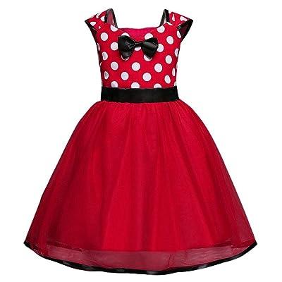 G&Kshop Minnie Mouse Dress Girls Dot Print Bridesmaid Princess Tutu Birthday Party Dress