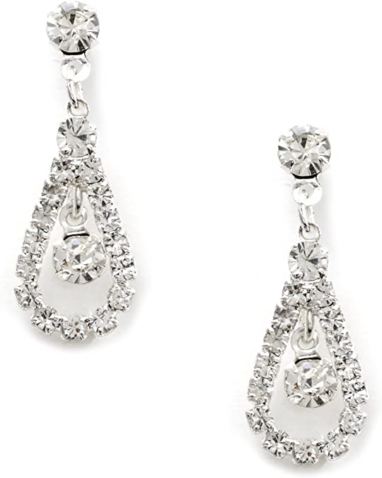 Silver Crystal Rhinestone Teardrop Pear Shaped Dangle Earrings Tipped with Round Shape