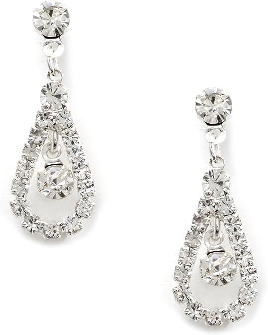 Silver Crystal Rhinestone Teardrop Pear Shaped Dangle Earrings Tipped with Round Shape