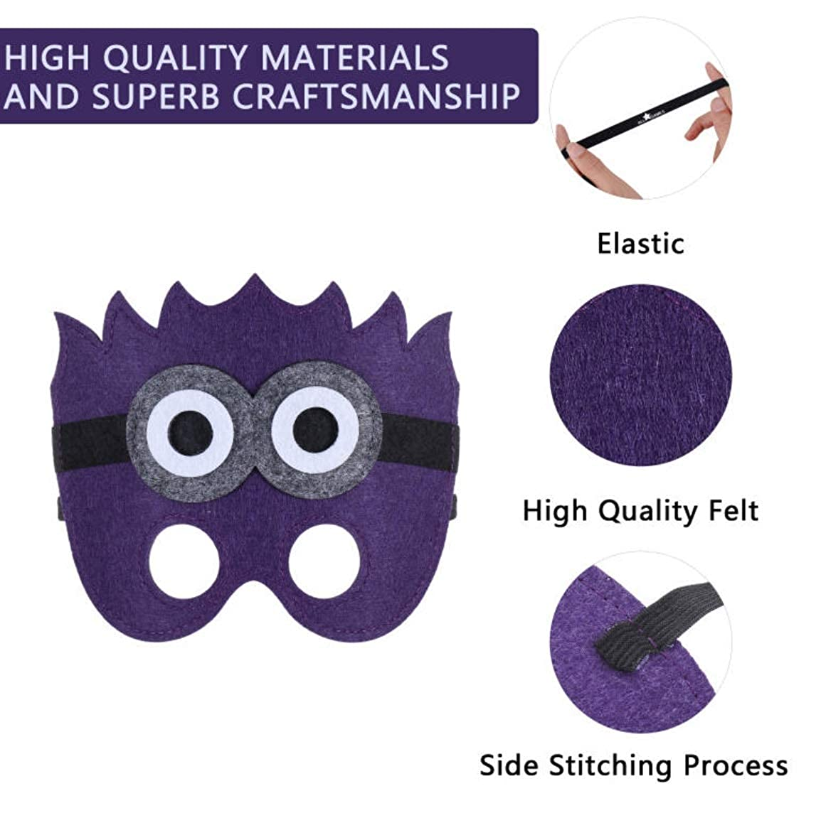 Gift One-Size-Fits-Most Design Premium Quality Eco-Felt and Fleece Cosplay! Comfortable Great for Birthday All Star Games Felt Masks for Minion Despicable Me Party 14 Masks Party Favor
