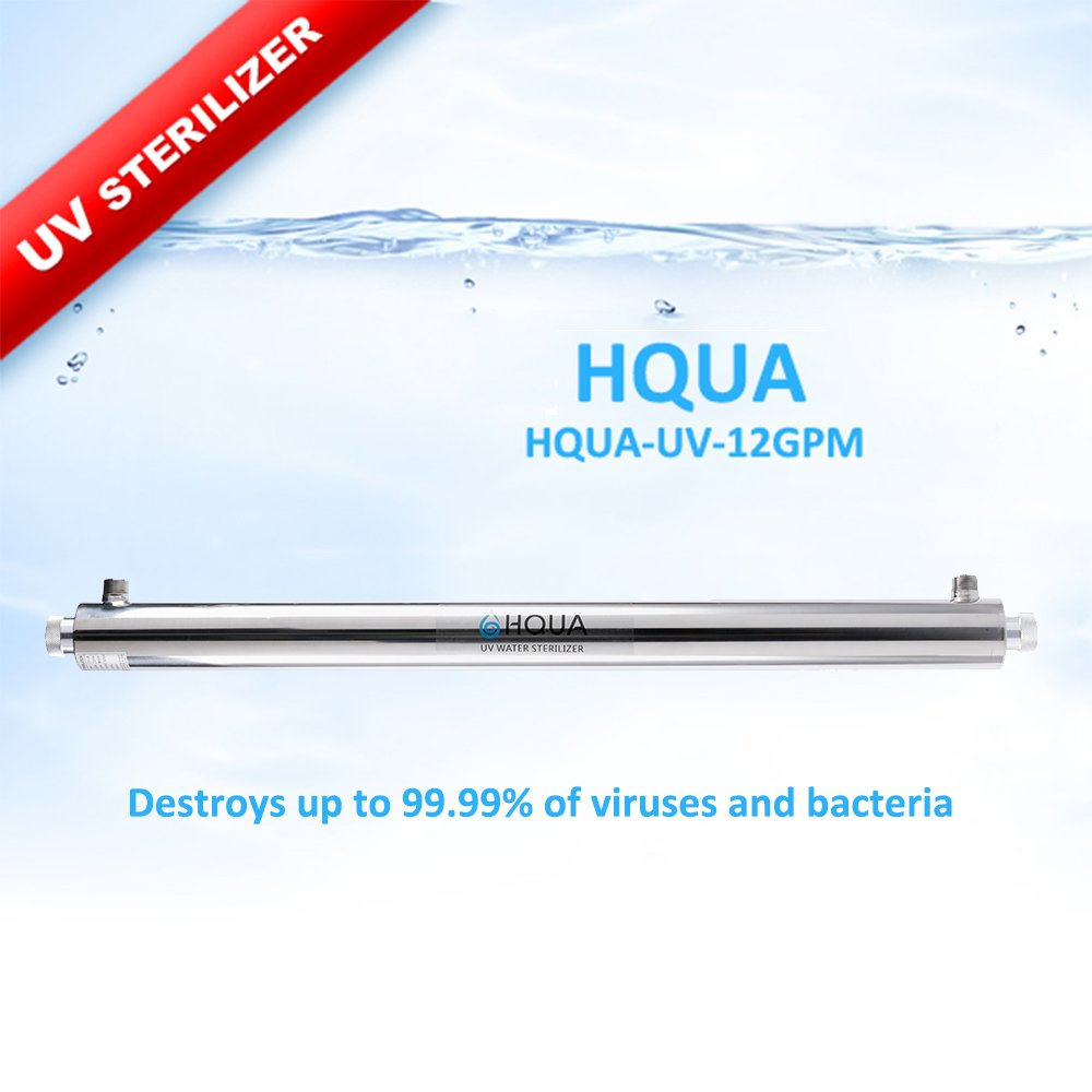 Ultraviolet Water Purifier Sterilizer Filter for Whole House Water Purification,12GPM 55W Model HQUA-UV-12GPM + 1 Extra UV Tube