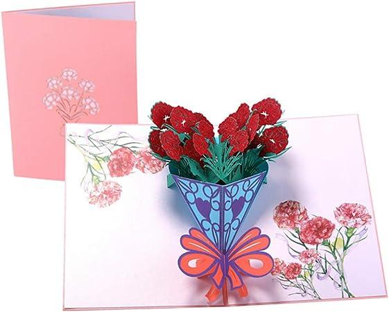 anniversaire, fête des mères, merci, carte vierge 3D Belle Rose Rouge Pop Up Carte.