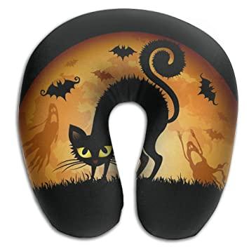 PengMin - Almohada de viaje cómoda para gatos negros con dibujos animados, cómoda almohada para
