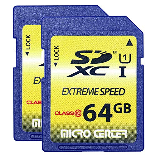 Micro Center 64GB SD Card Class 10 SDXC Flash Memory Card (2 Pack)