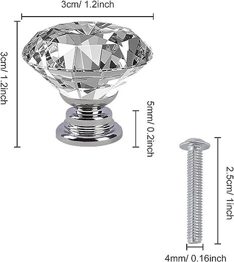 Kristall Schrankgriff Diamant Kristallglas Moebelknopf Klarglas Schubladenkn/öpfe mit Legierung Schraube 12 St/ück 30mm