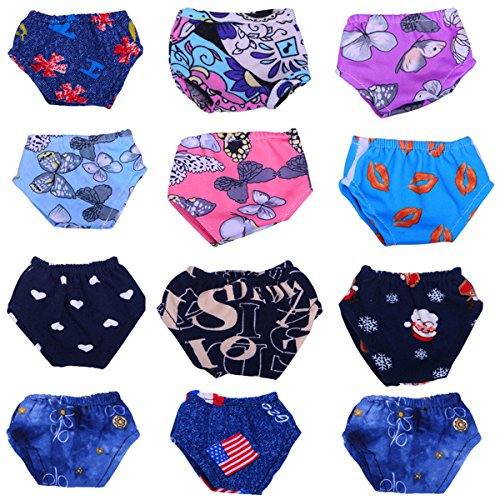 Jeleuon Cute Baby Beautiful 12 Pcs Mix Underwear Set Clothes For 16-18 inch American Girl - 12 Underwear Set Inch