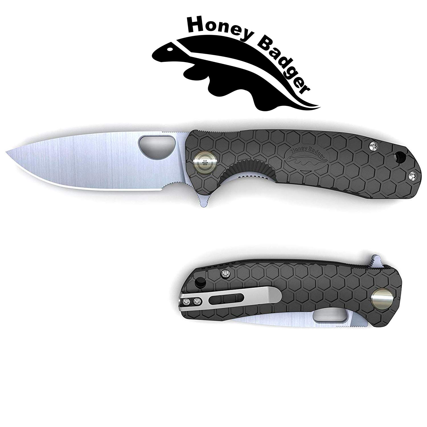 Honey Badger Pocket Knife EDC Flipper Liner Lock Folding Tactical Hunting Fishing Knife 8cr13MOV Steel Deep Pocket Carry Gift Box with Torx Wrench (Black, Large 3.98oz - 4.6'' Closed - 3.63'' Blade) by Western Active