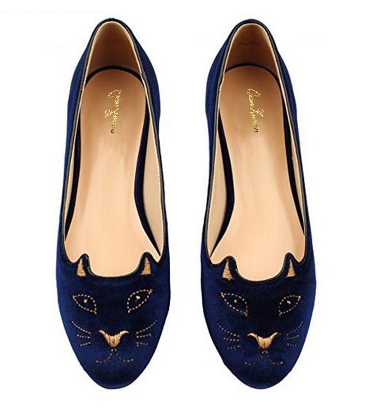 QianZuLian Womens Flats Cat Shape Pumps Round head Slip On Dress Shoes Comfort for Home Leisure On foot B0757SR16V 7.5 B(M) US|Dark Blue
