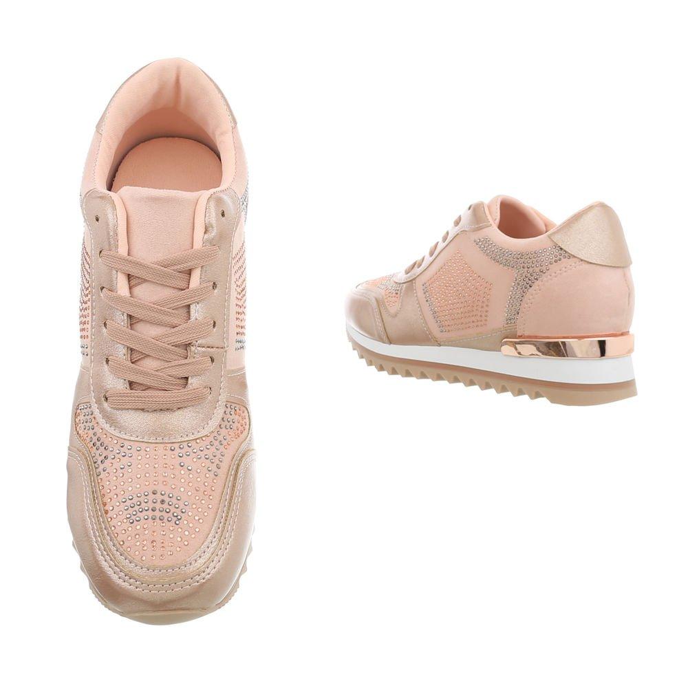 Ital-Design Sneakers High Damenschuhe Keilabsatz/Wedge G-125 Schnürsenkel Freizeitschuhe Pink Gold G-125 Keilabsatz/Wedge 866170