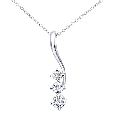 Naava Women's Pave Set Diamond Drop Pendant and 9 ct White Gold Chain Necklace of 46 cm t4qV4