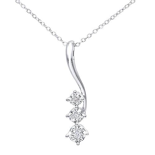 abd170f3da Naava Collana con Pendente da Donna, Oro Bianco 375/1000, Diamante ...
