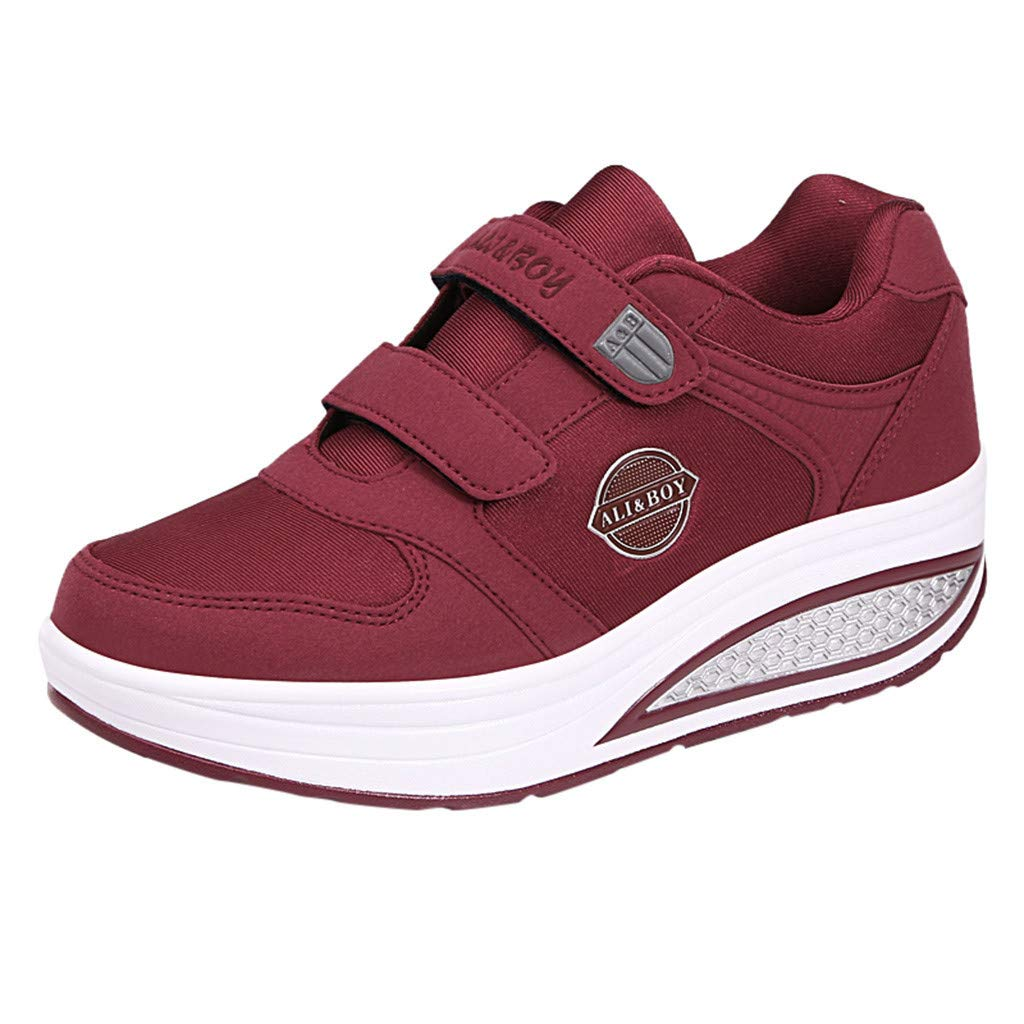 Yiwanjia ◕ˇ∀ˇ◕ Women's Thick Slip-On Casual Walking Wedges Shoes Breathable Work Shake Sneakers (US:5.5,Wine) by Yiwanjia-Shoes