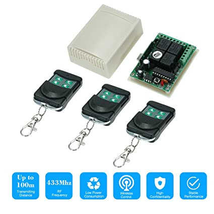 OWSOO 433Mhz DC 12V 4CH Universal 10A Relay Wireless Remote ... on