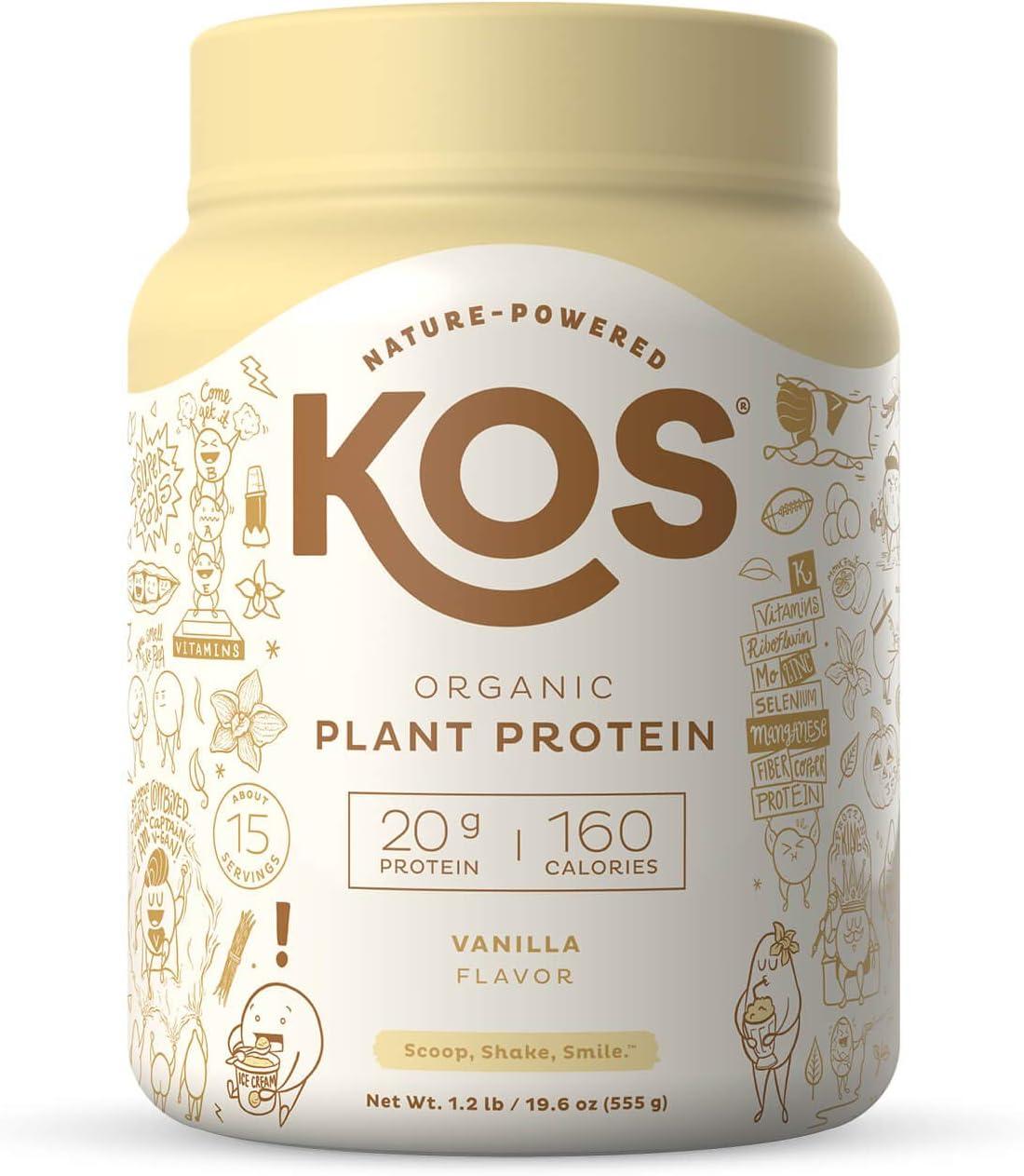 KOS Organic Plant Based Protein Powder, Vanilla - Delicious Vegan Protein Powder - Keto Friendly, Gluten Free, Dairy Free and Soy Free - 1.2 Pounds, 15 Servings